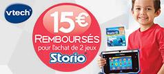 Offre Vtech : 15€ remboursés pour l'achat de 2 jeux Storio